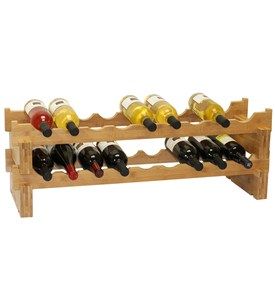 18-Bottle Stackable Bamboo Wine Rack by Oceanstar Image
