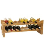 18-Bottle Stackable Bamboo Wine Rack by Oceanstar