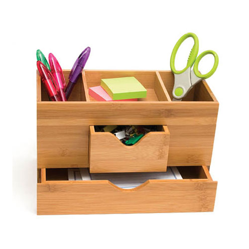 Bamboo three tier desk organizer in desktop organizers - Bamboo desk organiser ...