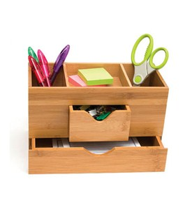 Bamboo Three-Tier Desk Organizer Image