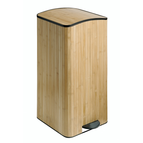 Interdesign pedal trash can bamboo in kitchen trash cans Kitchen garbage cans