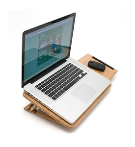 Bamboo Laptop Stand with Mouse Pad Image
