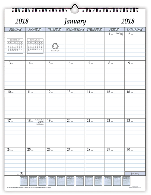12 month planners 2018