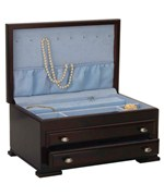 Two-Drawer Dark Mahogany Jewelry Chest