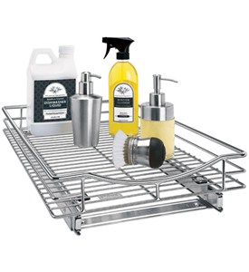 Deep Chrome Roll-Out Cabinet Organizer - 14 Inch Image