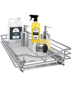Deep Chrome Roll-Out Cabinet Organizer - 14 Inch