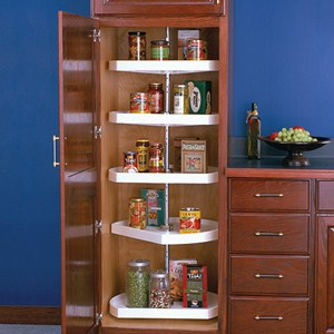 Five-Shelf Cabinet Lazy Susan - White - D-Shaped Image