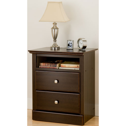 Regency tall two drawer night stand espresso in nightstands for Extra tall nightstands