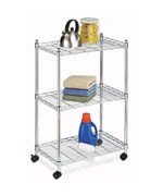 Three Shelf Rolling Cart - Chrome