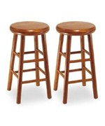 24 Inch Beechwood Swivel Bar Stool Set of 2