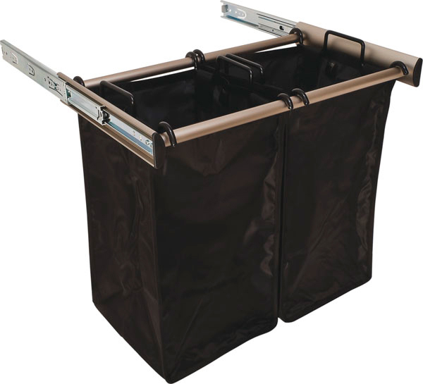 24 Inch Pull Out Double Laundry Hamper In Custom Closet