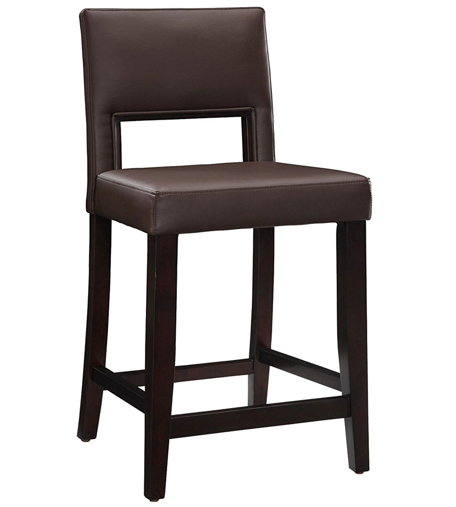 24 Inch Vega Counter Stool Dark Brown In Wood Bar Stools