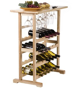 Wooden Wine and Stemware Rack - Natural Image