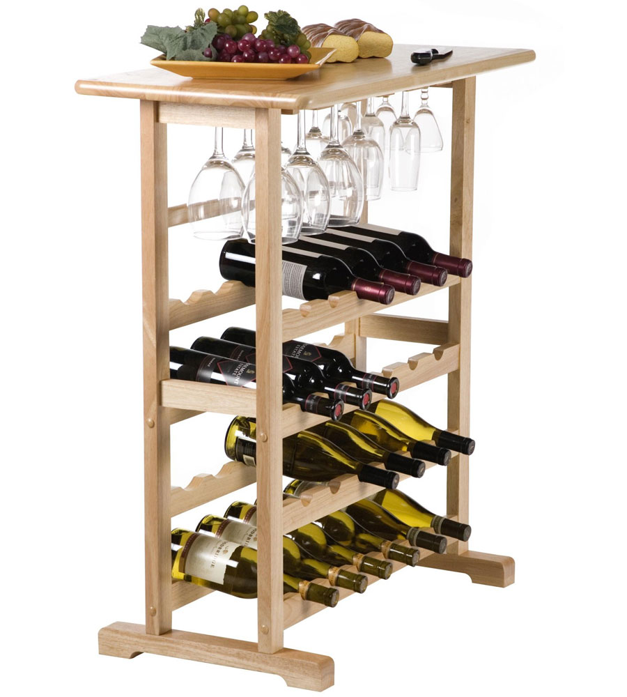 wooden wine and stemware rack natural price