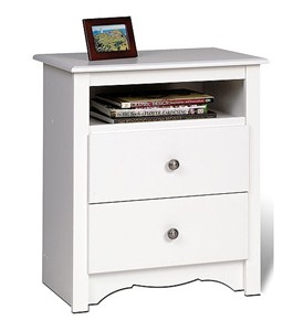 Monterey Tall Two-Drawer Night Stand - White Image