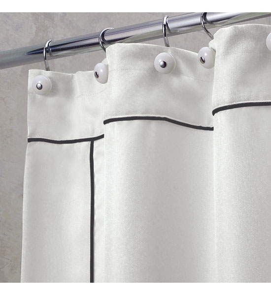 White Shower Curtain With Black Piping Image