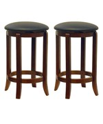 24 Inch Swivel Bar Stools - Walnut Finish