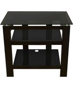 26 Flat Screen TV Stand - Black Oak and Black Glass