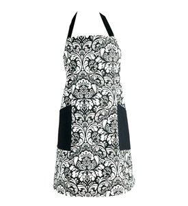 Cotton Kitchen Apron - Black Damask Image