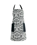 Cotton Kitchen Apron - Black Damask