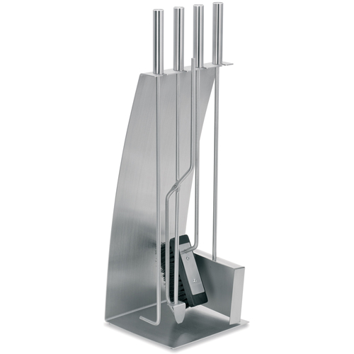 Blomus stainless steel fireplace tool set in