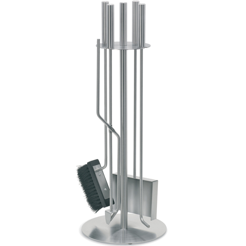 Stainless steel fireplace tool set in screens
