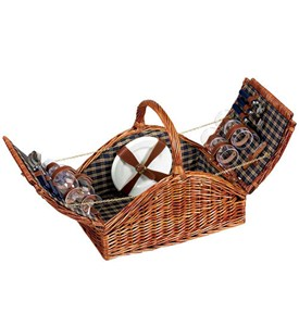 Arched Wicker Picnic Basket - Service for Four Image