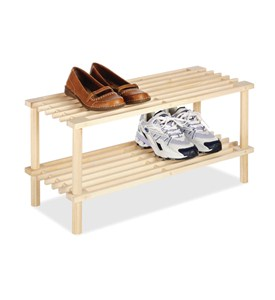 Two Tier Wood Shoe Rack Image