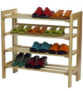 Wooden Four-Tier Shoe Shelf Image