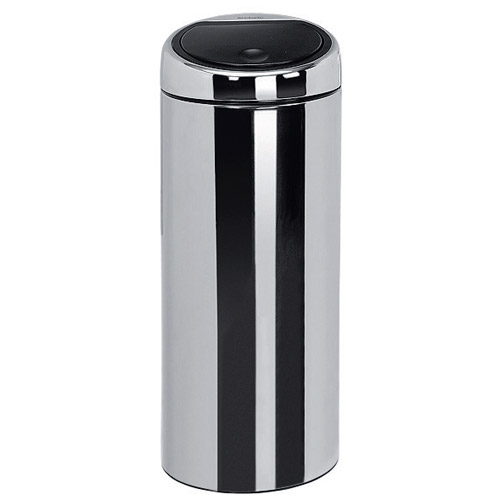 brabantia touch bin 30 liter brilliant steel in stainless steel trash cans. Black Bedroom Furniture Sets. Home Design Ideas