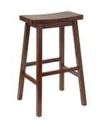 29 Inch Saddle Bar Stool - Antique Walnut