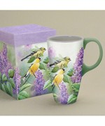 Coffee Latte Mug - Goldfinches and Lilacs