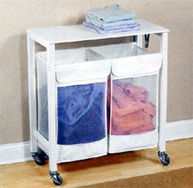 Double Hamper Laundry Sorter With Folding Table In Home Decor