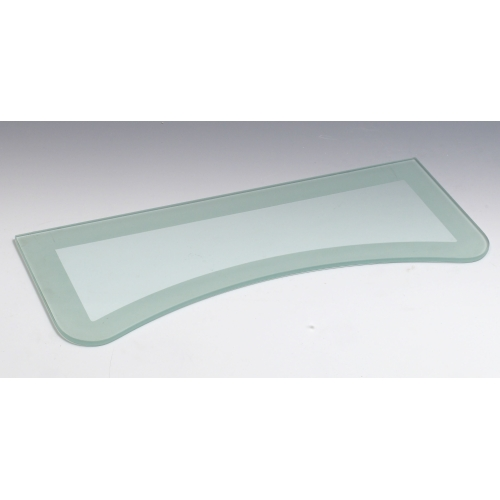 Concave Two Tone Floating Glass Shelf In Wall Mounted Shelves
