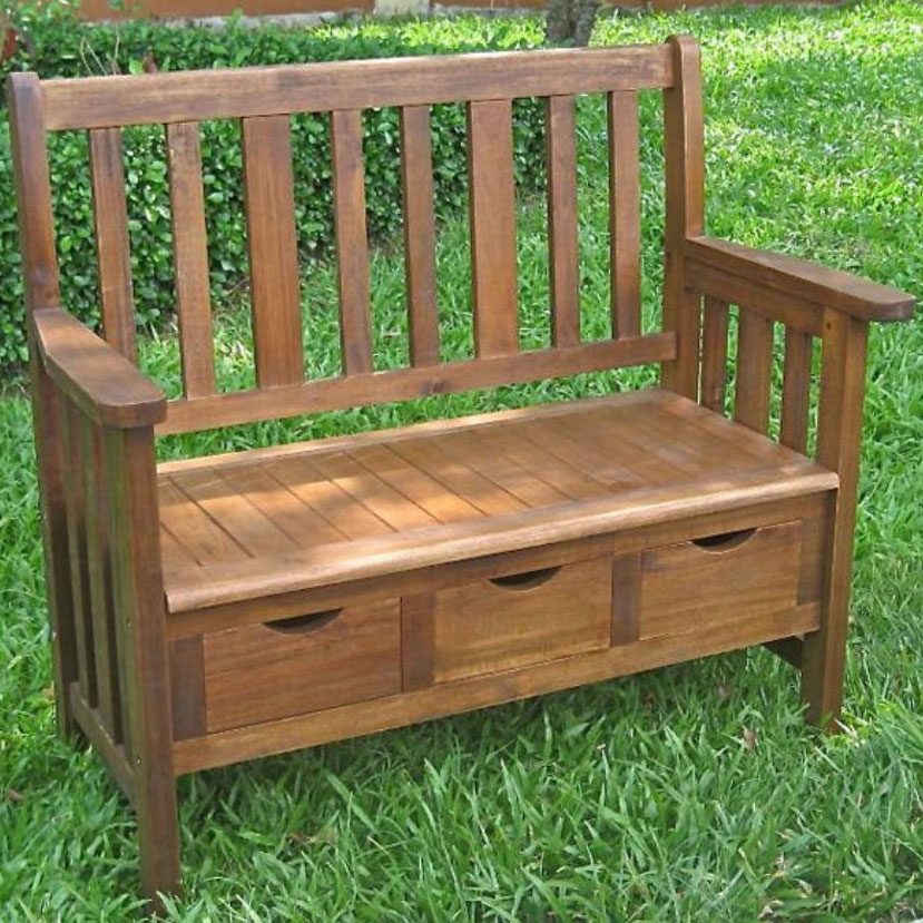 Three Drawer Outdoor Storage Bench In Outdoor Benches