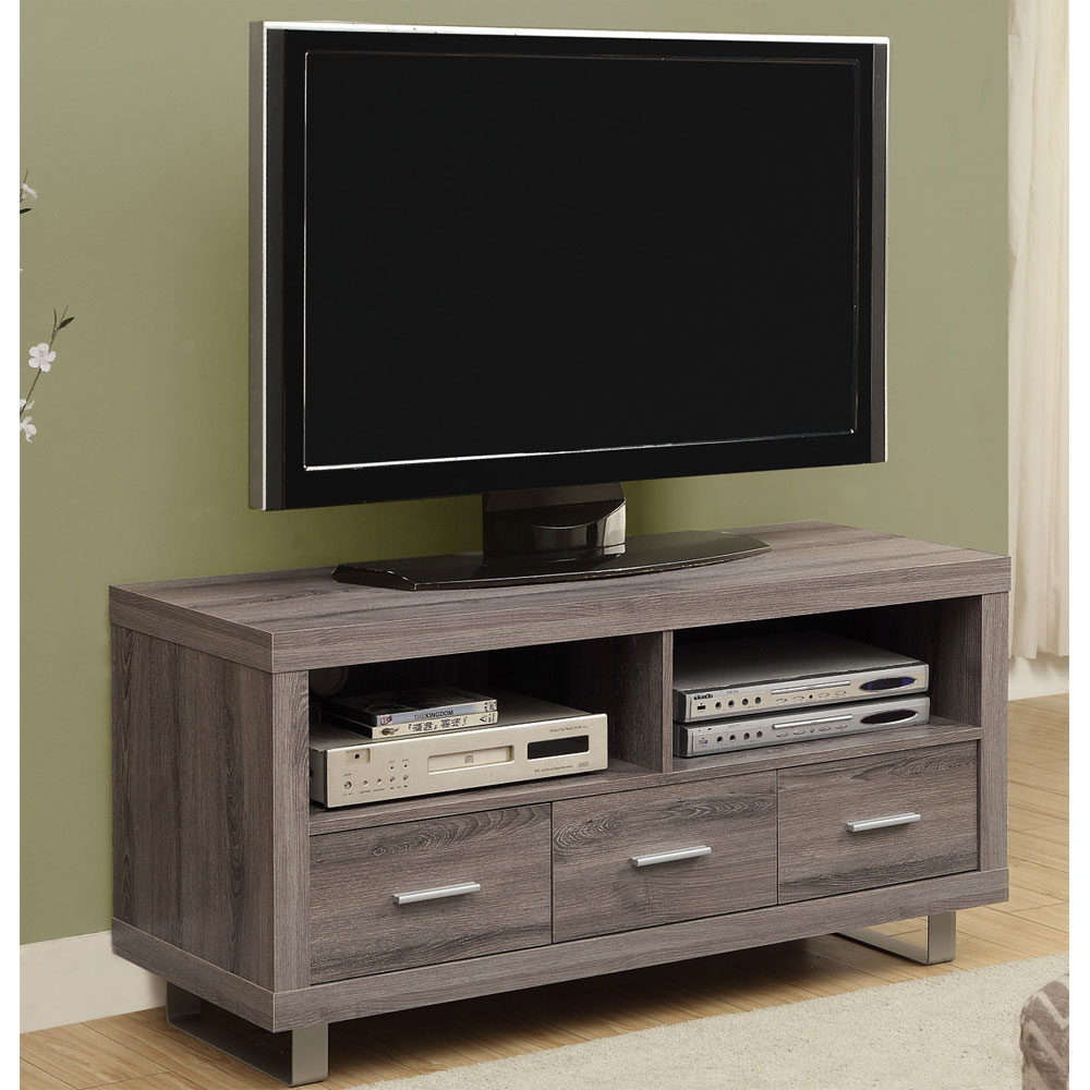 3 Drawer Media Stand With Reclaimed Wood Look In Tv Stands