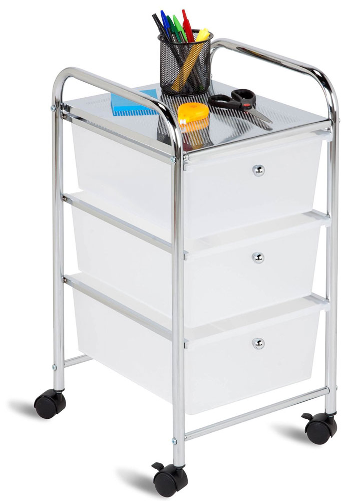 3 Drawer Rolling Cart In Storage Drawers