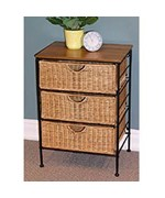 3 Drawer Wicker and Metal Chest by 4D Concepts