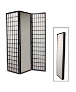 3-Panel Black Finish Mirror Room Divider by O.R.E.