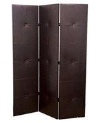 3-Panel Black Pu Leather Room Divider