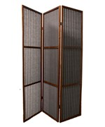 3-Panel Rattan Room Divider - Walnut
