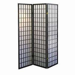 3-Panel Room Divider - Black by O.R.E. Image