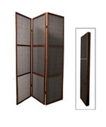 3-Panel Walnut Finish Rattan Room Divider by O.R.E.