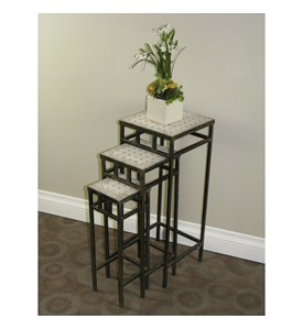 3-Pc Travertine Nesting Tables Set by 4D Concepts Image