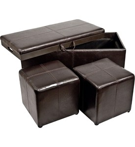 3-Piece Storage Ottoman and Cube Set Image