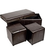 3-Piece Storage Ottoman and Cube Set
