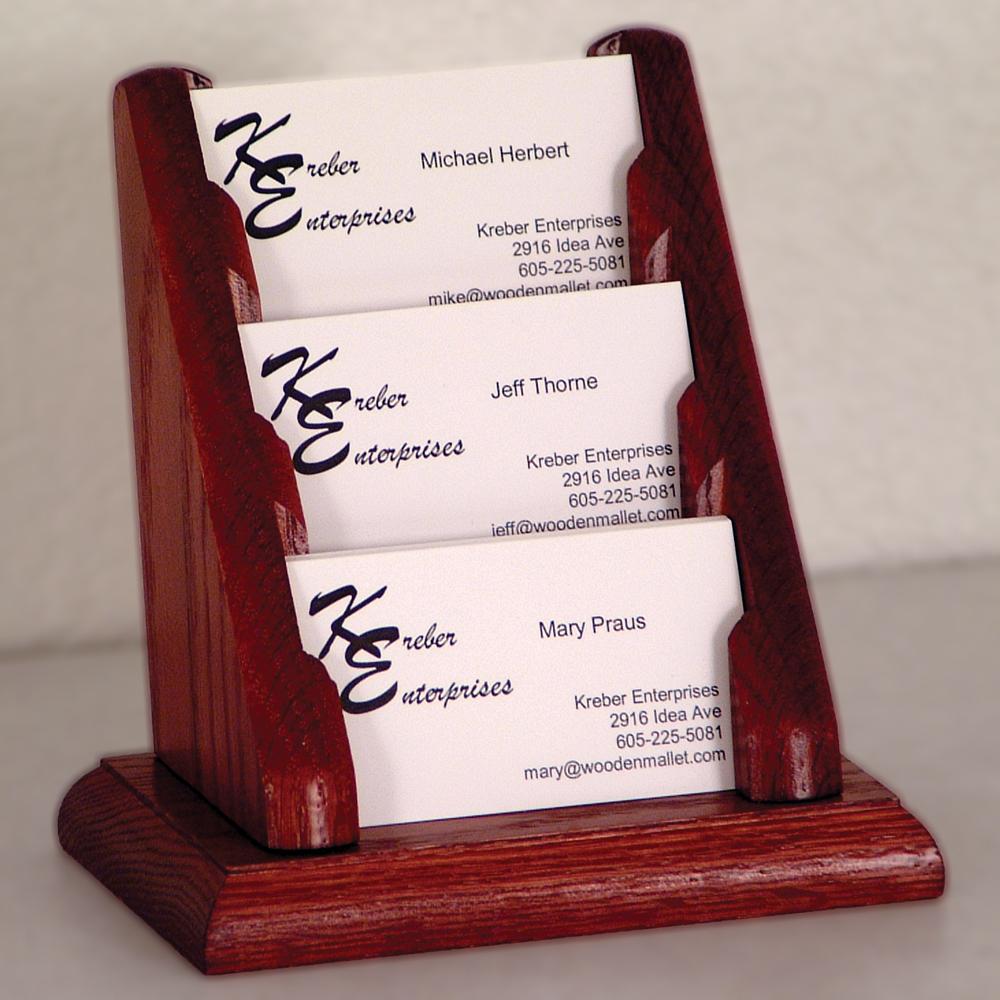 Business Card Holder 3 Pocket in Desk Accessories
