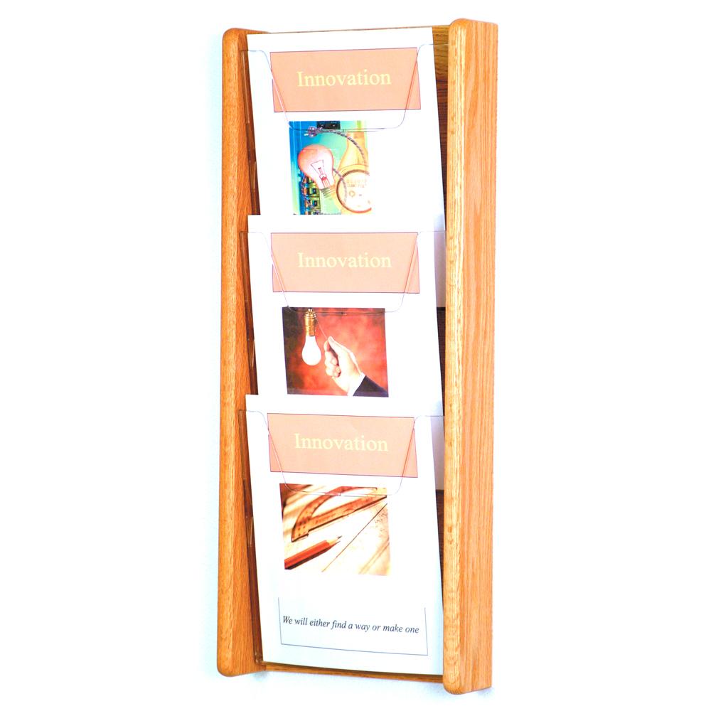 Wooden Magazine Rack 3 Pocket In Wall Magazine Racks