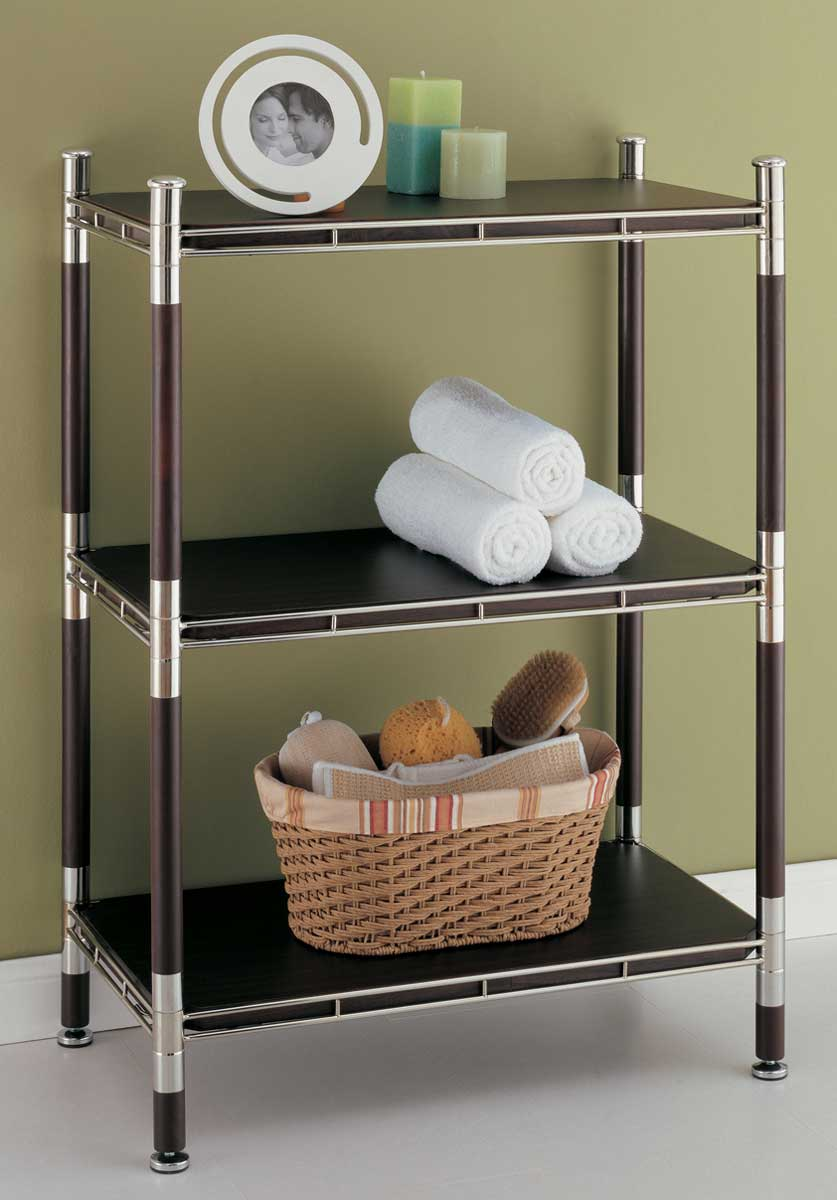3 Tier Wood And Chrome Shelving Unit In Bathroom Shelves