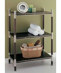3-Tier Wood and Chrome Shelving Unit